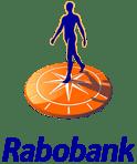 Logo van de Rabobank: een mensfiguur op een oranje zonnewijzer oid