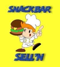 Logo: een striptekening van een man met een koksmuts die een enorme hamburger serveert